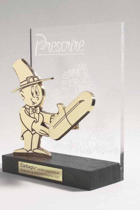 Trophée plexi et bronze