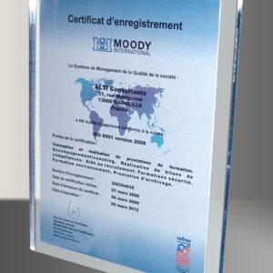 Certificat base plexi