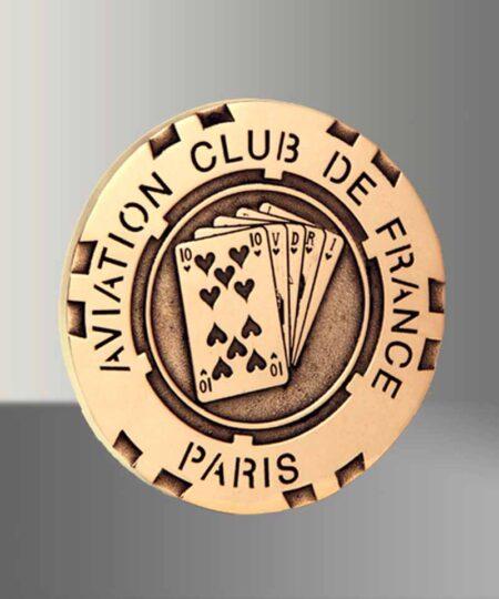Médaille bronze Jeton de Poker en bronze
